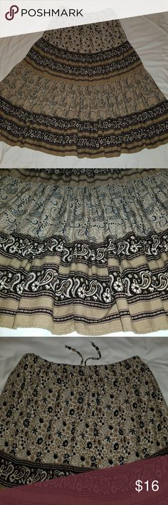 "Bohemian Long Skirt Boho Long Skirt   Mixed Print Black, Brown and Beige,  Measures 36"" Long. Super soft and comfortable. Excellent Condition Skirts"