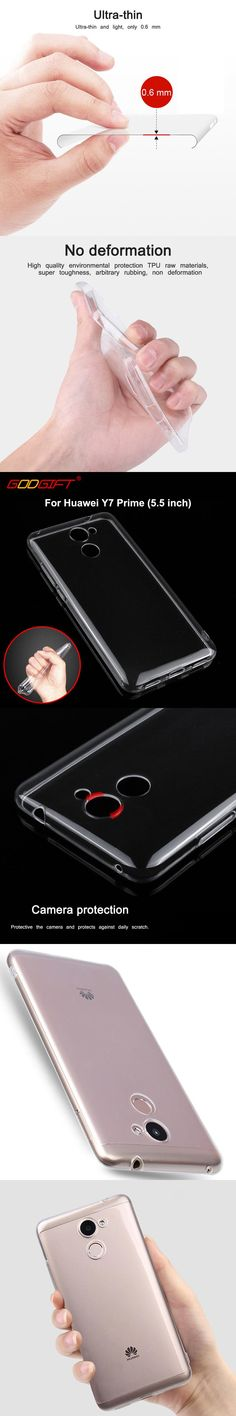 GodGift For Huawei Y7 Prime Case Silicone Cover Luxury Transparent Shockproof Soft Case For Huawei Y 7 Prime Phone Cases Shell