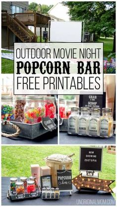 Outdoor Movie Night using Silhouette Cutting Machine with Free Printables party Outdoor Movie Night Popcorn Bar with Free Printables - unOriginal Mom Backyard Movie Party, Outdoor Movie Party, Backyard Movie Nights, Outdoor Movie Nights, Backyard Parties, Outdoor Movie Birthday, Outdoor Party Foods, Outdoor Movie Screen, Yard Party