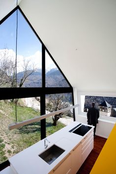 Two homes for father and son in the Pyrenees with modern interiors, huge windows and pitched roof based on an old dry stone house by Cadaval & Sola-Morales. Interior Architecture, Interior And Exterior, Interior Design, Dry Stone, A Frame House, Mountain Homes, Mountain Cottage, Spanish House, Pyrenees