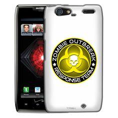 Motorola Droid Razr Maxx Zombie OutBreak Response Team Yellow on White Slim Case