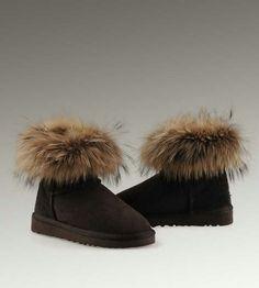 UGG Mini Fox Fur 5854 Black Boots