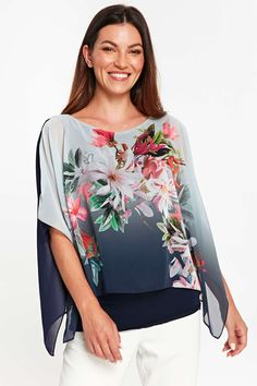 533fc2f038d42 Navy Ombre Floral Print Layered Top - Tops - Clothing
