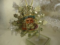 Beautiful Gold Dresden Star Medallion Ornament with Antique German Santa Paper Scrap