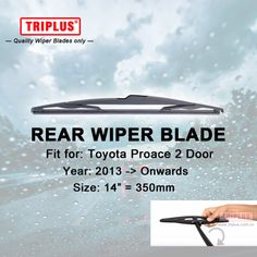 """Rear Wiper Blade for Toyota Proace 2 Doors (2013-Onwards) 1pc 14"""" 350mm,Car Rear Windscreen Wipers,for Back Windshield Wipers #Affiliate"""