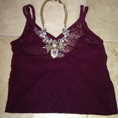 Hollister Maroon Sheer Lace Tank Only wore a few times. Necklace is not included no trades Hollister Tops Tank Tops