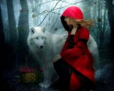 Little Red Riding Hood - wolf, creative pre-made, weird things people wear, digital art, models, girls, forests, fantasy, photomanipulation, love four seasons: