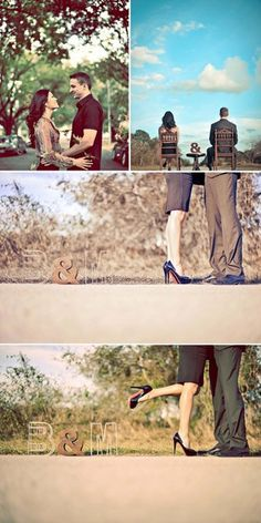 """Love these engagement pictures, besides the fact that the initials """"BM"""" are slightly unfortunate."""