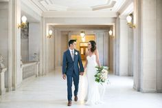 San Francisco City Hall - Intimate Wedding - bride and groom - navy blue and grey - elopement - green bouquet - mermaid dress