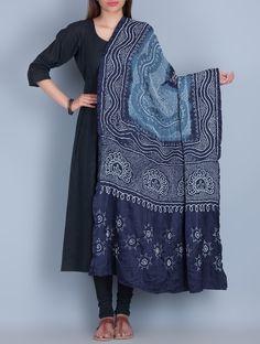 Buy Indigo Blue Bandhani Silk Dupatta by Neelgar Accessories Dupattas Online at Jaypore.com