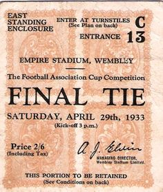 Everton v Manchester City F.A Cup Final Ticket 1933