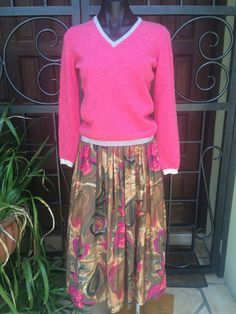 Vintage German Boho Pinks and Browns Floral Lined Skirt Size 8 Australian