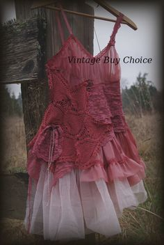 Altered couture  slip dress, gypsy, cowgirl chic, girly, boho, gypsy cowgirl chic, antoinette, steampunk slip dress