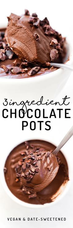 These paleo and vegan Chocolate Pots are the easiest most decadent dessert, made with NO coconut, tofu, avocados, or even sugar involved! Quick and easy healthy dessert idea. Healthy Vegan Dessert, Low Carb Dessert, Vegan Treats, Healthy Treats, Vegetarian Desserts, Tofu Dessert, Dinner Dessert, Healthy Food, Gluten Free Desserts