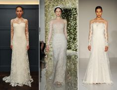 Wedding dresses in dusty blue, utterly romantic sheer sleeves with hints of lace, and so much more. See what's hot!