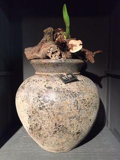 Grote, stoere kruik. Met wat druivenstronken en een amaryllisbol steelt de pot de show in elke ruimte. Flair Living bij Het Monument