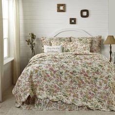 Spring Floral Event Sale!!Madeline King Quilt 105x95 - The Madeline Collection features a floral pattern of pink, olive and light brown on a crème ground.