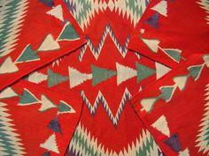 Antique Germantown Navajo Child Blanket Native American Indian Weaving, Rug