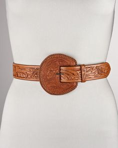 Carved Leather Belt by Ralph Lauren at Bergdorf Goodman.