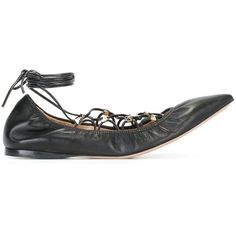 Valentino Valentino Valentino Garavani 'Rockstud' Lace-Up Ballerinas ($855) ❤ liked on Polyvore featuring shoes, flats, lace up flats, black leather flats, pointed toe ballet flats, ballet flats and lace up ballerina flats