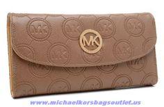 Michael Kors Leather Monogram Wallet Sand Discount
