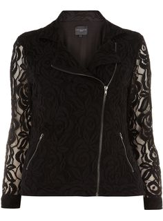 I really need this jacket in my life.   Live Unlimited Black Lace Biker Jacket, Evans, www.evans.co.uk