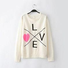 Funshop Woman's Moustache and Love Pattern Round Neck Sweater 080852 Color Love Size L