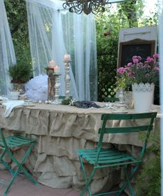 I saw this on a wedding site and thought I'd pinned it. I am obsessed with burlap and the ruffle concept is amazing. Bedskirts, lampshades, curtains, table-runners would all be great. Rustic, charming, elegant, and inexpensive.