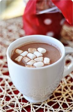 Homemade Hot Chocolate - 3 cups nonfat dry milk powder, 2 cups powdered sugar, 1½ cups cocoa powder (dutch-process or natural), 1½ cups white chocolate chips or finely chopped white chocolate, ¼ tsp salt. Pulse in food processor or blender until finely ground. Store in airtight container for up to 3months. Add 1/3cup cocoa mix with 1cup hot milk.