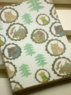 Mini covered notebook / sketchbook Nordic animal pattern via Etsy.