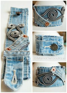 Upcycled Recycled Denim Cuff Bracelet Zipper von DMamaOwlBoutique - Informations About Upcycled Recy Jean Crafts, Denim Crafts, Textile Jewelry, Fabric Jewelry, Jewellery, Fabric Bracelets, Cuff Bracelets, Diy Denim Bracelets, Fashion Bracelets
