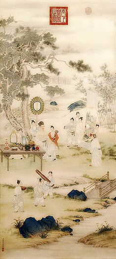 The Qianlong Emperor Viewing Paintings, 1746—c.1750,                           by Giuseppe Castiglione (Chinese name Lang Shining, 1688—1766) and Ding Guanpeng (fl.c. 1738—1768). Hanging scroll, ink and colour on paper. The Palace Museum, Beijing.