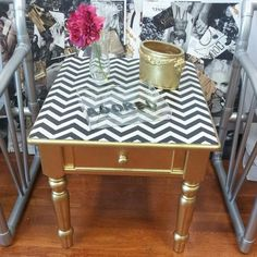 Gold Accent Table paired with Black and White Chevron print...How cute would a chevron office be?!