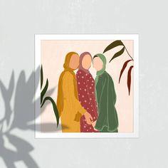 Cover Wattpad, Hijab Drawing, Make Up Palette, Frida Art, Hijab Cartoon, Unity In Diversity, Square Art, Islamic Art, Cartoon Art