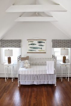 the picket fence projects: Nursery progress: a nod to nautical Attic Remodel, Custom Window Treatments, Cribs, Fence, Nautical, Diy Projects, Bed, Room, Furniture