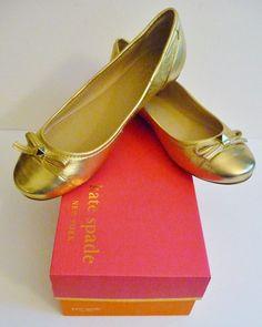 "Kate Spade NY NIB ""Bay"" Gold Round Toe Ballet Flats Sizes 8.5 & 9B Retail $198. #KateSpade #BalletFlats #Any"