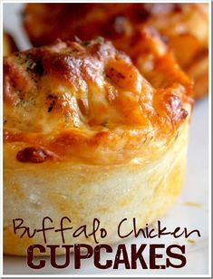 A must try - Buffalo Chicken Cupcakes!  1 recipe Pizza Dough, 1 onion, chopped, 1 pound boneless, skinless chicken breast, cut into small pieces, 2 tablespoons butter, 1/2 cup favorite Buffalo Sauce, 2 cups fresh mozzarella