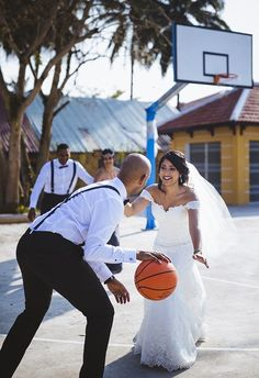 Mel and Joel decided basketball on their wedding day was their thing! What is yours?
