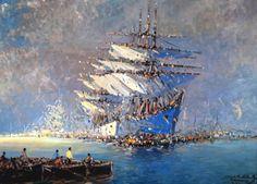 """Stephen Robert Koek Koek, """"Fragatas"""" óleo sobre tela, 78 x 110 cm."""