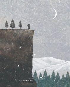 (c) Akira Kusaka #illustration #illust #akira_kusaka #akirakusaka #イラスト #イラストレーション #forest #kutoten #digital #digitalart #photoshop #star #constellation #moon #piano #guitar #mountain
