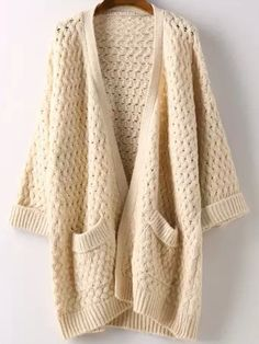 Fashion Crochet Loose Long Cardigan Open-Front Sweater Cardigan ...