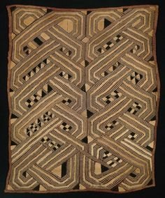 Africa | Panel. Kuba culture ~ Democratic Republic of the Congo | Early/mid-20th century | Raffia, plain weave; embroidered in overcast and stem and running stitches cut to form pile; couching
