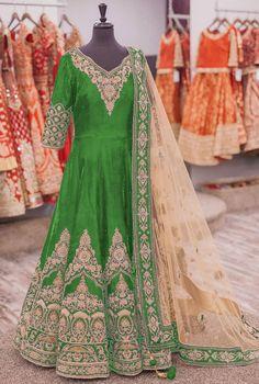 Lime Green Banglori Silk Anarkali Suit