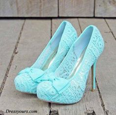 lace pumps in sky blue