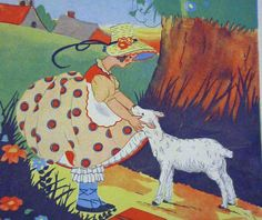 Illustration by Fern Bisel Peat, Mary's Lamb by BookArtsAndEphemera on Etsy