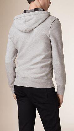Grigio pallido mélange Felpa con cappuccio in jersey di cotone - Immagine 3
