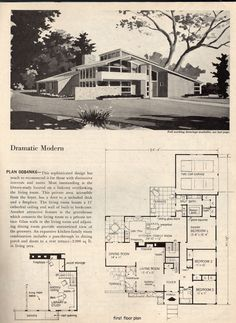dramatic mid century modern house plans space age atomic era homes - Mid Century Modern Home Plans