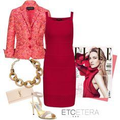 ETCETERA Spring 2014:  PRIMROSE coral jacket, SANGRIA red dress, BRANDO gold bracelet.