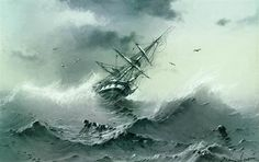 Shipwreck, 1854 - Ivan Aivazovsky, painting noted for skill showing violence of the storm.