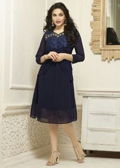 Buy Chigy Whigy Women's Faux Georgette Kurta - Navy Blue